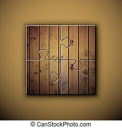 Wooden background on puzzle