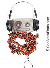 Headphones on Compact Cassette - Headphones on audio...