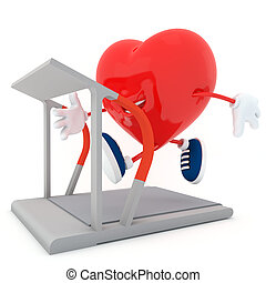 Running - Smily heart running on treadmill - 3D render
