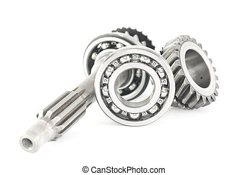 stainless bearing, shaft and cogwheel isolated on white...