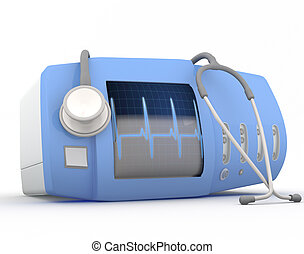 Electrocardiogram device with stethoscope  - 3D render
