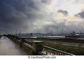 promenade before a big storm in Coruna, Spain