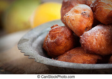Deep fried fritters donuts - Bowl of Deep fried fritters...
