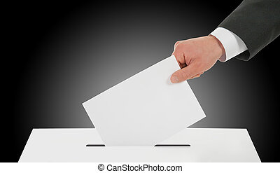 Man hand down ballot in the ballot box - Manhand down ballot...