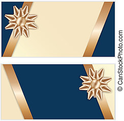 Festive Golden Bow Blue Cards