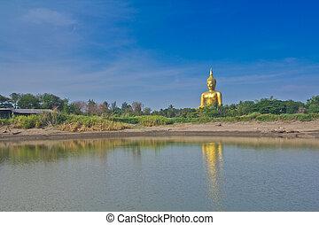 Golden Buddha big statue at Wat Muang in Angthong, Thailand...