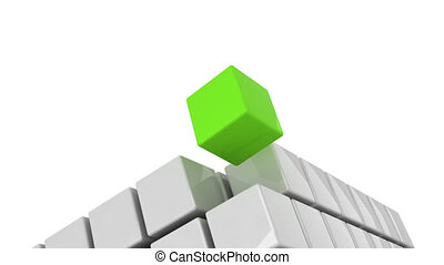 Green cube getting detached concept alpha channel included