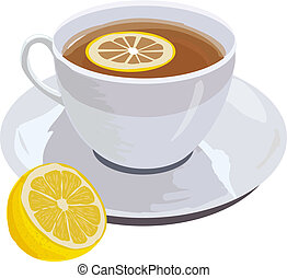 cup of tea and lemon - hand drawn illustration of cup of...