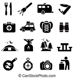 Camping icons black on white Silhouettes of outdoor...