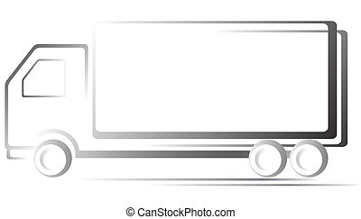 transport icon with truck - monochrome transport icon with...