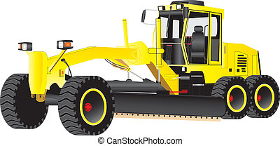 Yellow Grader - A Yellow Road Grading Machine isolated on...