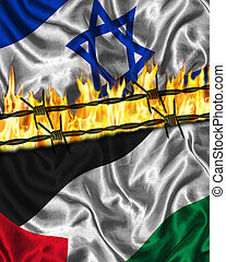 Palestinian Israeli Conflict - Flag of Israel and Palestine...