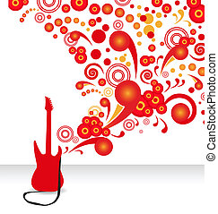 electric guitar - stylish abstract background with a red...
