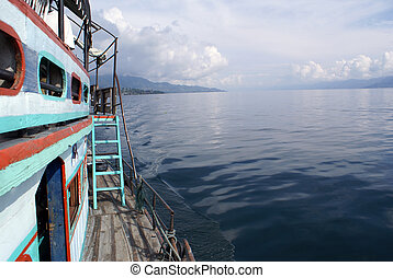 Ferry on the lake Toba, sumatra, indonesia