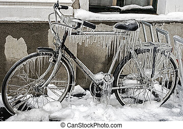 Stop non-movement - Ice icicles formed on a parked bicycle...