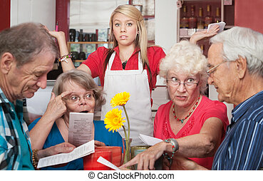 Patrons Argue About Menu - Annoyed waitress and group of...