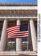 American flag in  the department of commerce building in Washington - USA