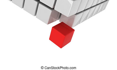 Red cube getting detached and falling down concept alpha...