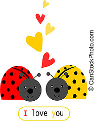 Two ladybird in love - illustration with text.