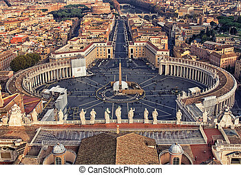 Piazza San Pietro in Vatican City - Looking down over Piazza...