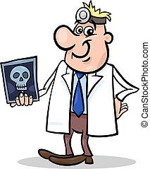 cartoon doctor illustration with xray - Cartoon Illustration...