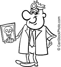 doctor with xray black and white cartoon - Black and White...