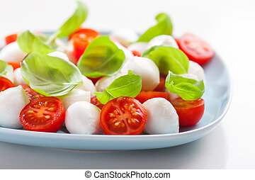 Tomato salad with mozzarella and basil - Small tomato salad...