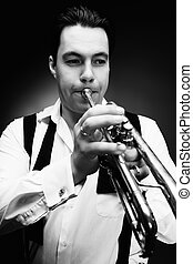 jazz music - Portrait of a musician playing the trumpet....