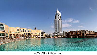 DUBAI, UAE - OCTOBER 23: Address Hotel and Lake Burj Dubai...