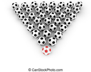 Soccer balls group with leader