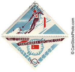 Slalom on post stamp