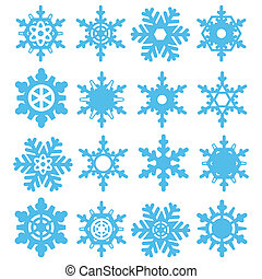 Snowflakes set - Illustration set of snowflake on a white...