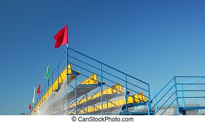 Waving flags on the football stadium