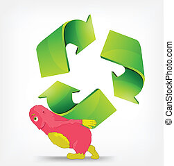 Recycle Sign - Cartoon Character Monster carrying Recycle...