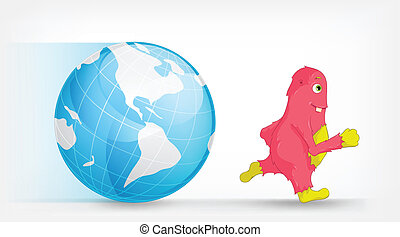 Global Warming Concept with Cartoon Character Monster Vector...