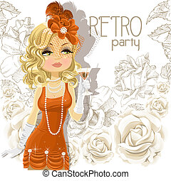 Retro woman with goblet - Cute woman with goblet on Retro...