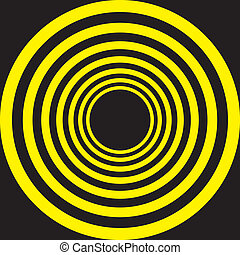Hypnotic Yellow on Black descending concentric circles