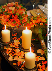Romantic candes on table - Romantic burning candles and...
