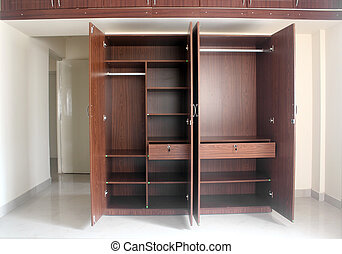 Stylish & modern empty cupboard in a room of a newly built...