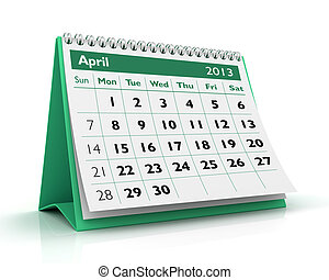 April 2013 Calendar - 3D desktop calendar 2013 in white...