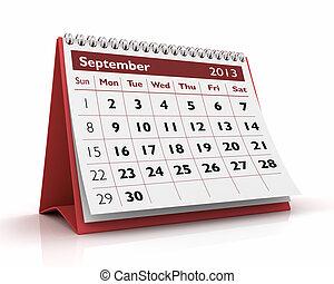 September 2013 Calendar - 3D desktop calendar 2013 in white...
