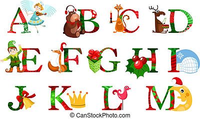 christmas alphabet - vector illustration of a christmas...