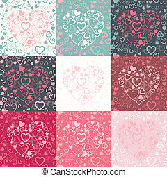 vector set of seamless pattern with colorful hearts