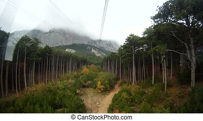 Aerial tramway heading towards a mountain