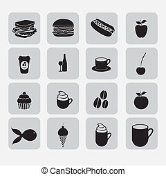 Hotel icons - hotel icons illustration, food silhouettes,...