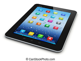 Tablet computer - Black glossy tablet PC mobile computer...