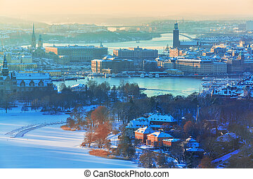 Winter aerial scenery of Stockholm, Sweden - Winter aerial...