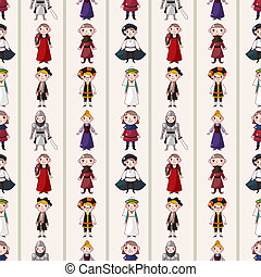 seamless medieval people pattern,cartoon vector illustration