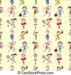 seamless sport player pattern,cartoon vector illustration