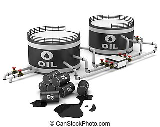 Oil storage tank and pipeline on a white background